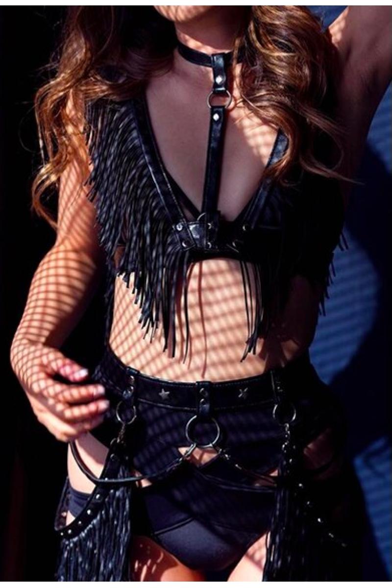 Gypsy Soul Black Leather Fringe Harness Set
