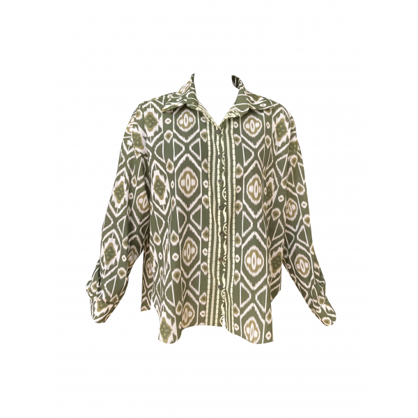 Graphic Patterned Khaki & White Shirt