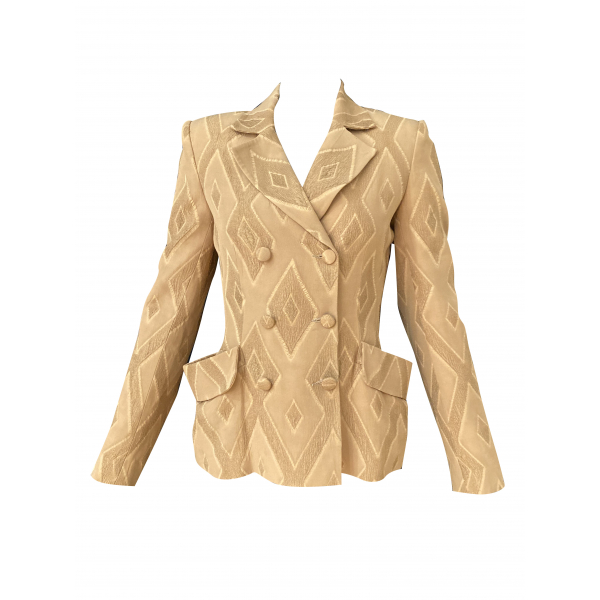 Graphic Patterned Light Brown Jacket