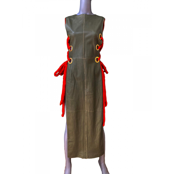Side-Tie Leather Dress