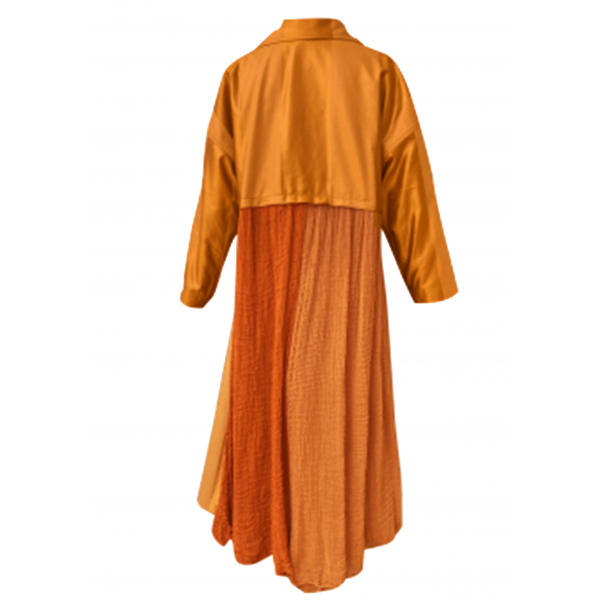 Brown Satin Trenchcoat with Handloom Fabric Back Detail Brown Satin Trenchcoat with Handloom Fabric Back Detail