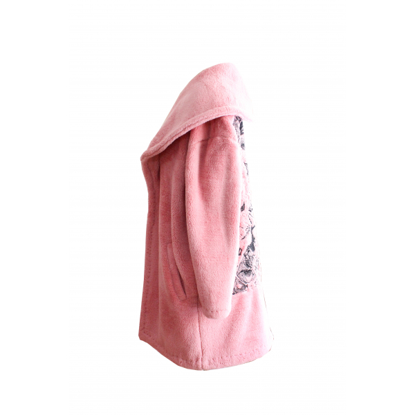 Pink Plush Coat with Back Embroidery Detailed Pink Plush Coat with Back Embroidery Detailed