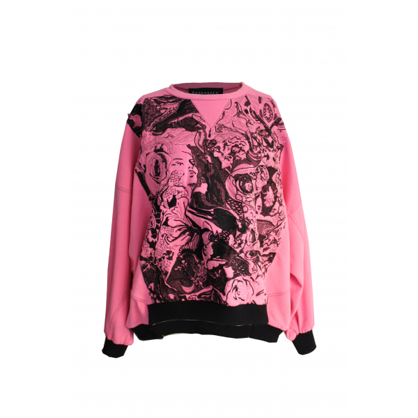 Embriodery Detailed Pink Sweatshirt Embriodery Detailed Pink Sweatshirt