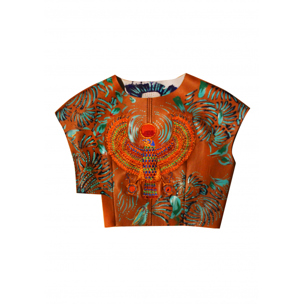 100% Leather Covered Embroidered Hand Painted Crop Blouse On Scuba 100% Leather Covered Embroidered Hand Painted Crop Blouse On Scuba
