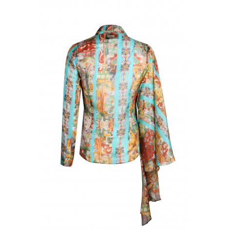 SLEEVE DETAILED AND GAUDI PATTERNED SHIRT