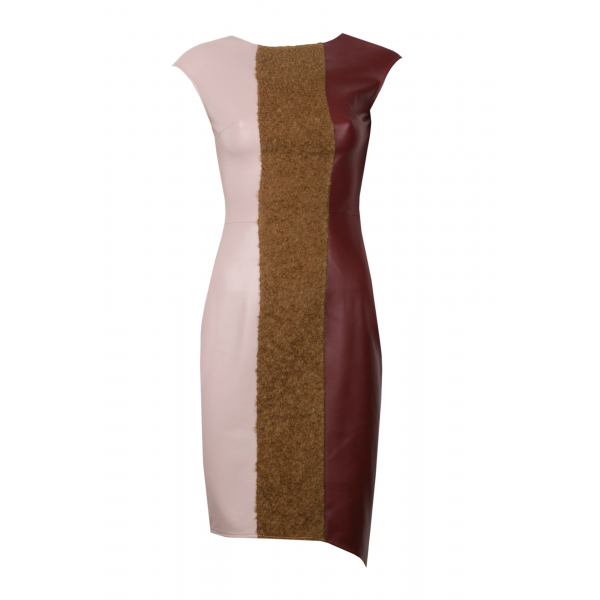 WOOL DETAILED LEATHER DRESS WOOL DETAILED LEATHER DRESS