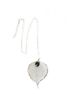 LIFF Gümüş Liff Doğal Yaprak Kolye – Dumanlı Kuvars