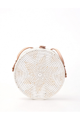 THE BALI FASHION THE BALI FASHION - Beyaz Rattan Round Bag