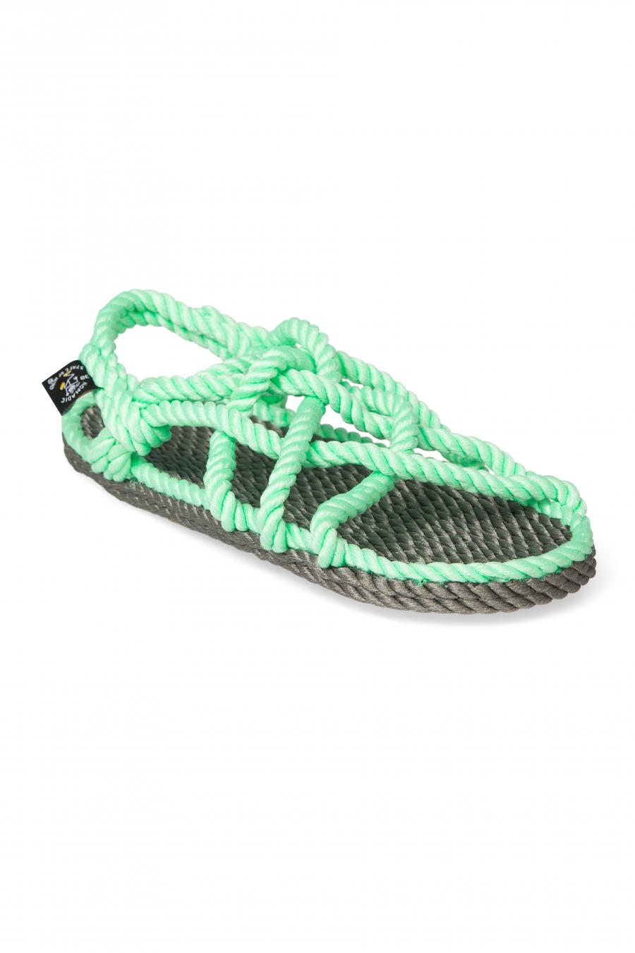 Nomadic State of Mind - JC Gri-Neon Yeşil Hasır İp Sandalet