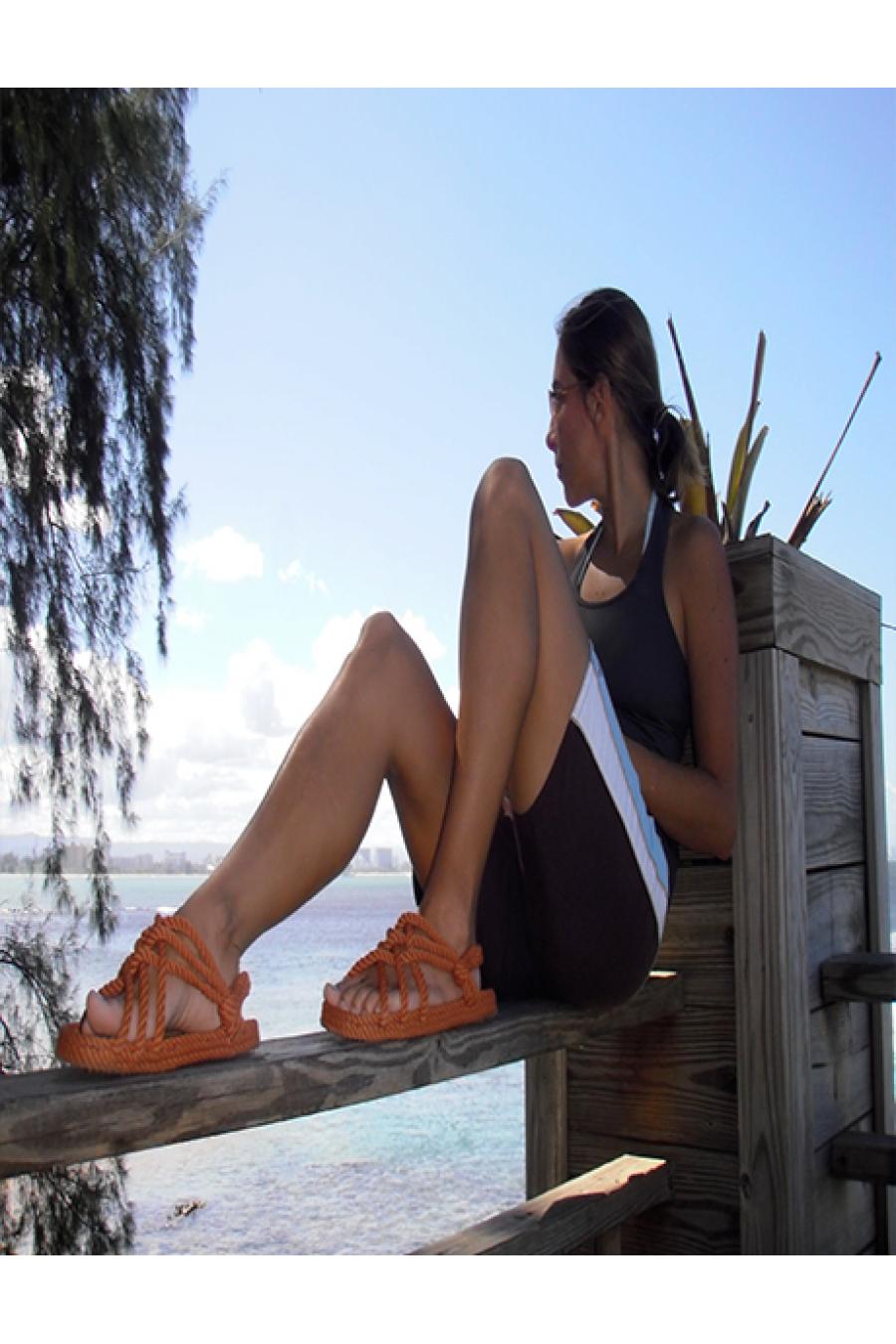 Nomadic State of Mind - JC Pumpkin Turuncu Hasır İp Sandalet