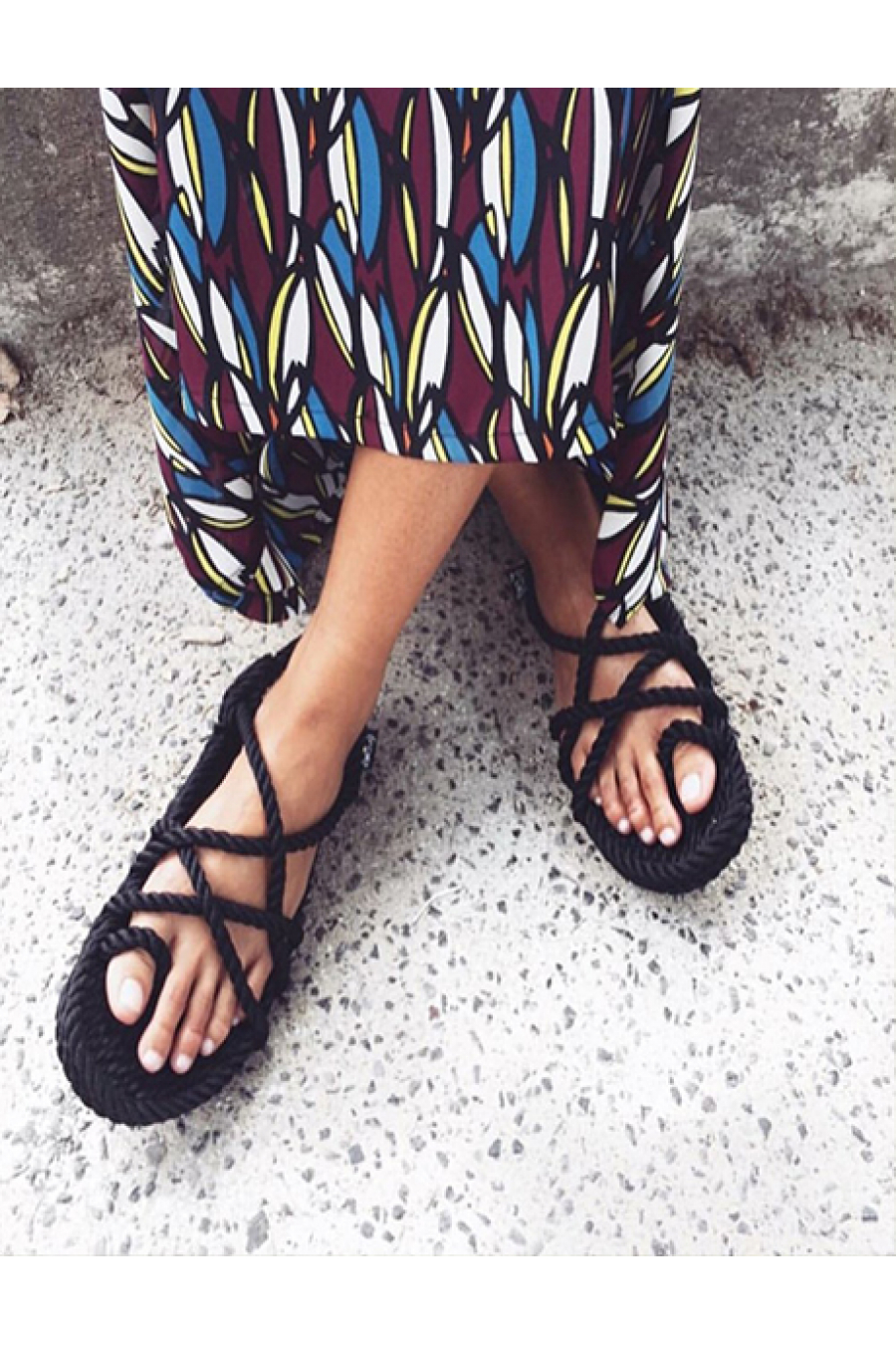 Nomadic State of Mind - Toe Joe Siyah Hasır İp Sandalet