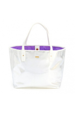 everything tote, silver/white