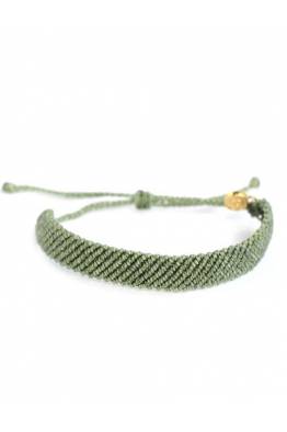Pura Vida Bracelets Flat Braided Yeşil Bileklik