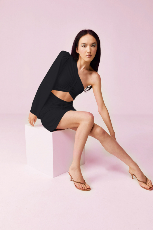 COSMOPOLITAN One Shoulder Dress (Black)