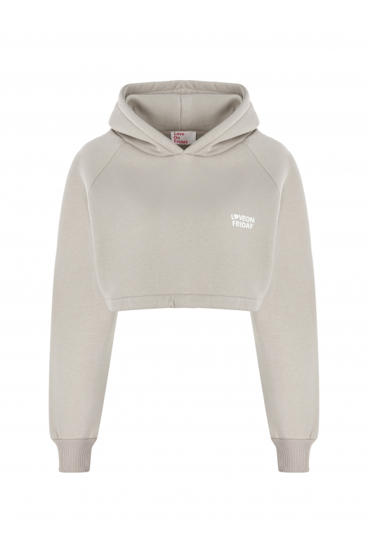 MOON Cropped Hoodie (Light Sand)