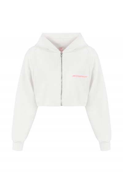 SUNSET Cropped Hoodie (White)