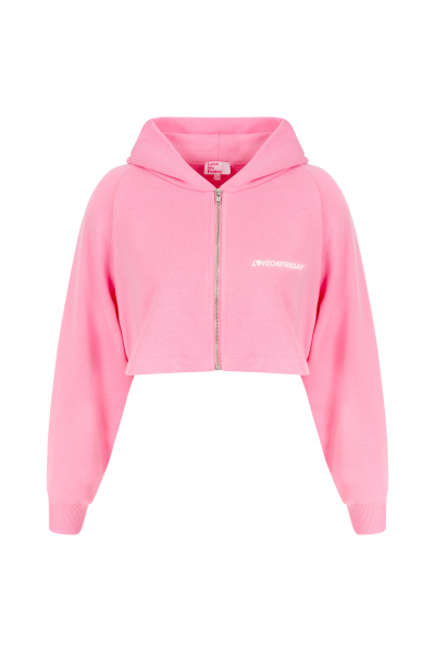 SUNSET Cropped Hoodie (Light Pink)