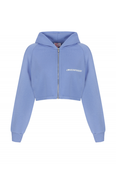 SUNSET Cropped Hoodie (Deep Sky Blue)