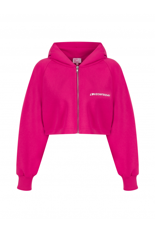 SUNSET Cropped Hoodie (Fuscia)