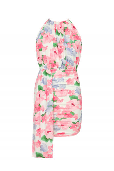 BROOKLYN Halter Neck Dress in Pink Floral