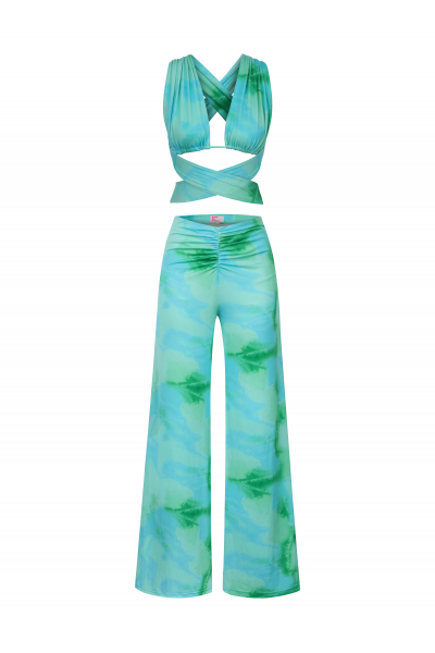 LALA Top in Aqua Tie Dye