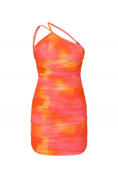 PARADISE Backless Dress in Sunset Tie Dye