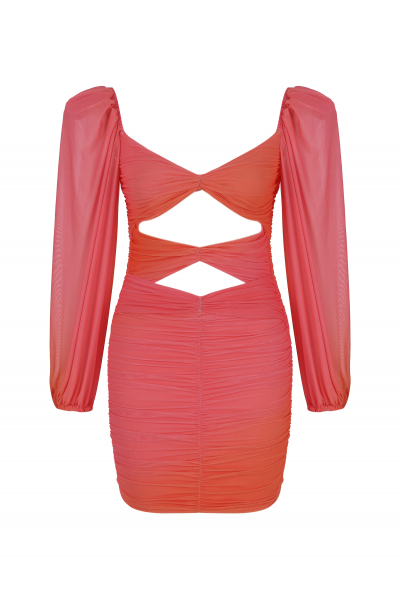 ROSE Puff Sleeve Dress in Hibiscus Tie Dye