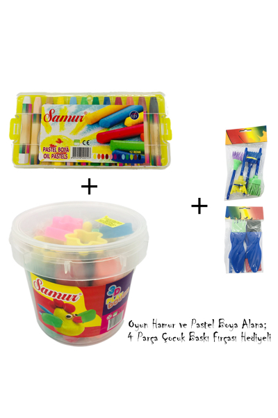 Oyun Hamuru, Pastel Boya Seti - Çocuk Baskı Fırçası Hediyeli