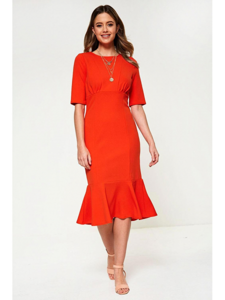 Midi Hem Orange Dress
