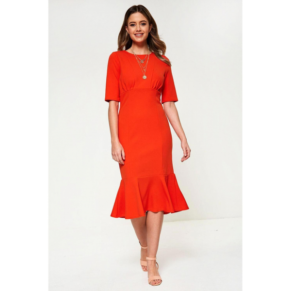 Midi Hem Orange Dress  Midi Hem Orange Dress