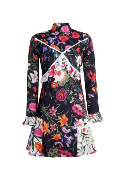 Floral Kısa Elbise (Siyah) Floral Kısa Elbise (Siyah)