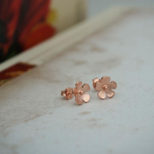 Mini Çiçek Küpe - Rose
