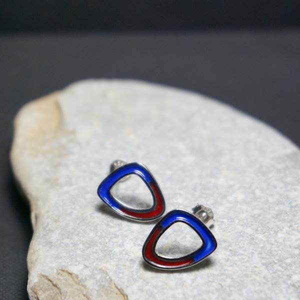 Damla Mineli Küpe - Kırmızı & Mavi
