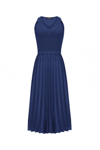 Pleated Dress Navy