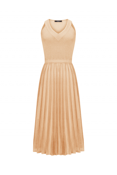 Pleated Dress Gold