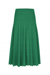 Zigzagged Stitch Skirt Green