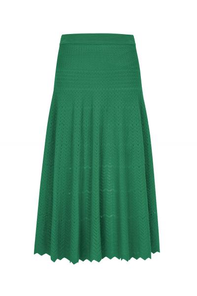 Zigzagged Stitch Skirt Green