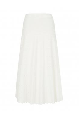 Zigzagged Stitch Skirt White
