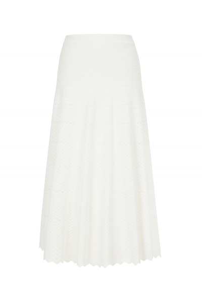 Zigzagged Stitch Skirt White