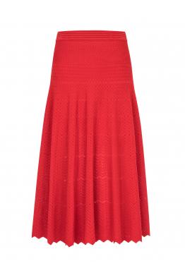Zigzagged Stitch Skirt Red