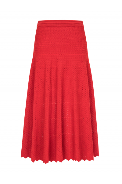Zigzagged Stitch Skirt Red