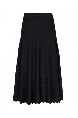 Zigzagged Stitch Skirt Black