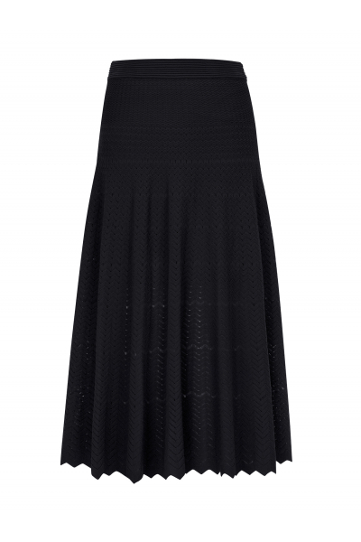 Zigzagged Stitch Skirt Black