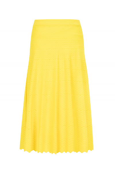 Zigzagged Stitch Skirt Yellow