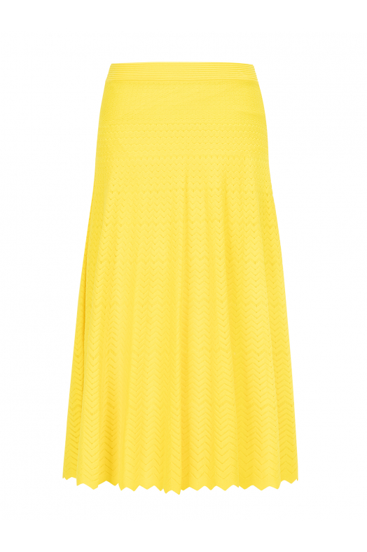 Zigzagged Stitch Skirt Yellow