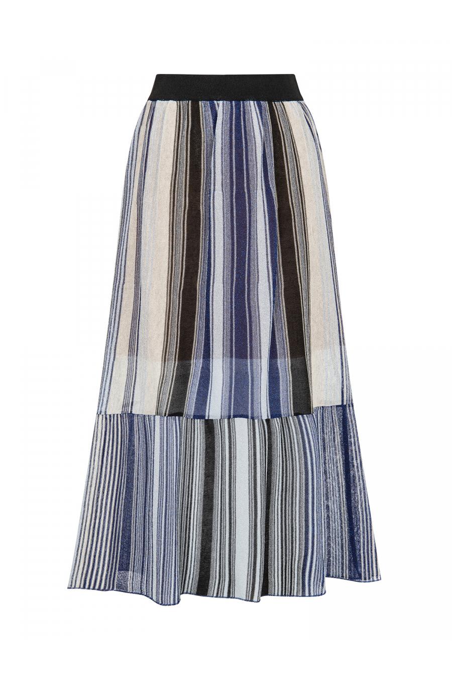 Silvery Maxi Skirt Blue