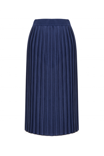 Silvery Pleated Skirt Navy