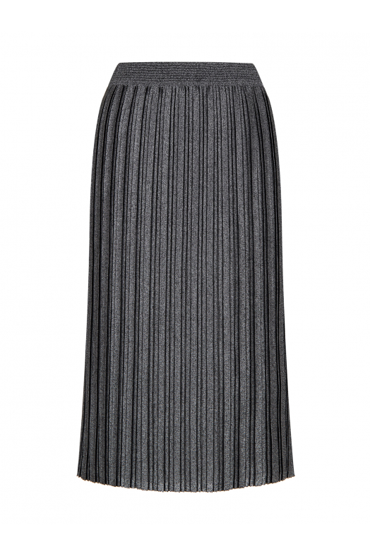 Silvery Pleated Skirt Black