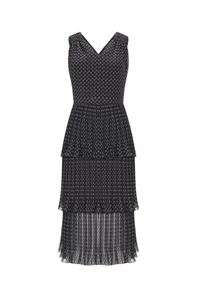 Triple Ruffles Dress Black
