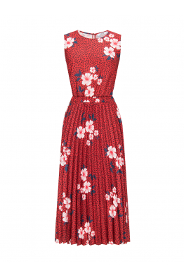 Pleated Dress Red